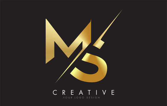 MS M S Golden Letter Logo Design with a Creative Cut.