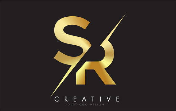 SR S R Golden Letter Logo Design with a Creative Cut.