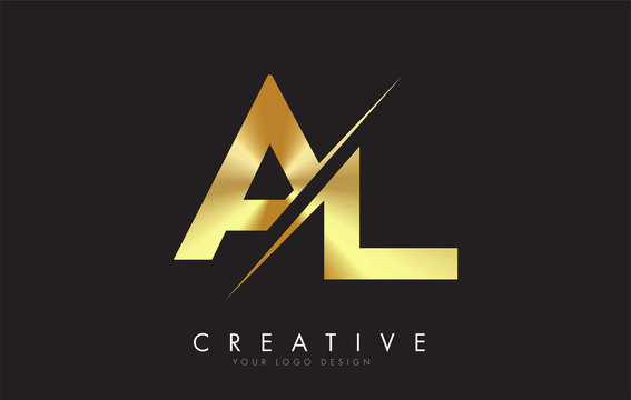 AL A L Golden Letter Logo Design with a Creative Cut.