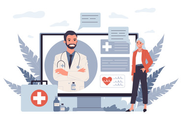Fototapeta Patient consulting doctor online. Woman talking to physician through video call flat vector illustration. Healthcare, internet, communication concept for banner, website design or landing web page