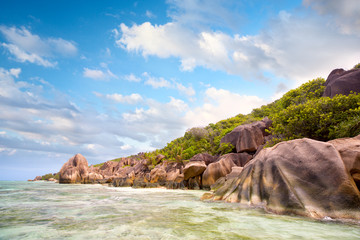 Wall Mural - Granite rock's beach in  La Digue Island, Seyshelles