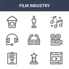 9 film industry icons pack. trendy film industry icons on white background. thin outline line icons such as play, videocamera, oscar . film industry icon set for web and mobile.