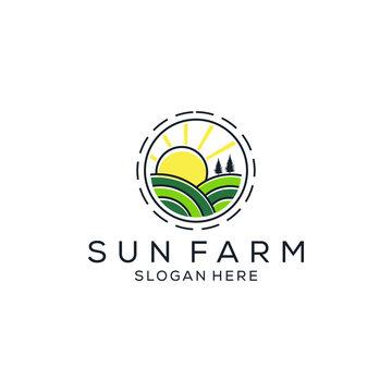 Sun farm monoline vector graphic logo design inspiration download