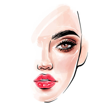 Vector beautiful woman face. Girl portrait with long black lashes