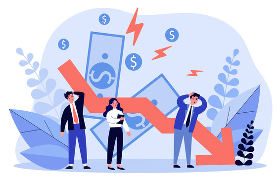 People facing financial crisis and loss. Business people upset about recession, economy problems. Vector illustration for bankruptcy, decrease, company failure, debt concept