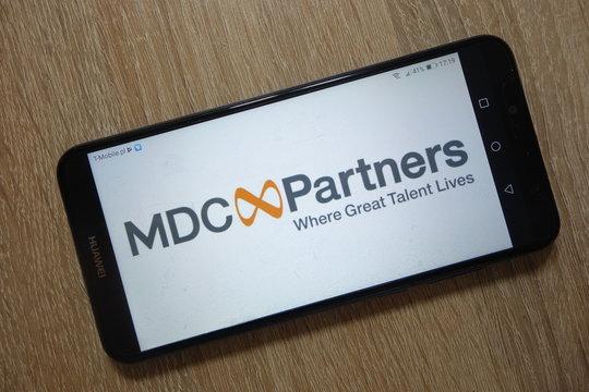 KONSKIE, POLAND - December 01, 2018: MDC Partners Inc. logo displayed on smartphone