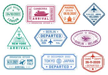 Passport visa stamps set, arrival and departure
