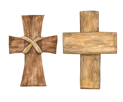 Hand drawn watercolor cross for Easter. Spring religious baptism symbol, isolated on white background. Seasonal holiday wood decor.