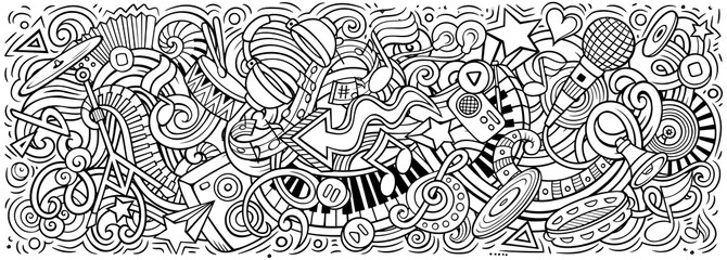 Music hand drawn cartoon doodles illustration. Colorful vector banner Fotomurales