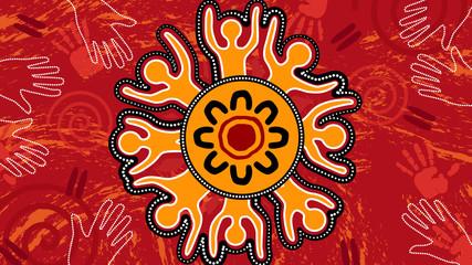 Aboriginal dot art vector painting. Unity concept