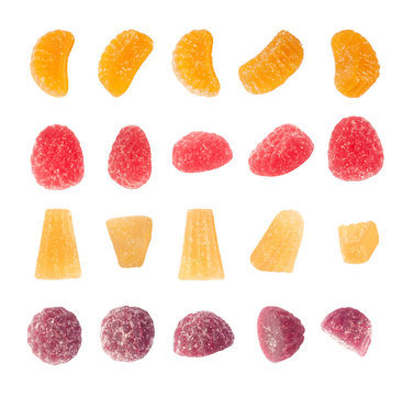 Set of top and side views of assorted fruit jelly slices or marmalade isolated on white background