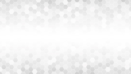 Light gray hexagonal mosaic background for business presentation. HD 16x9 vector pattern.