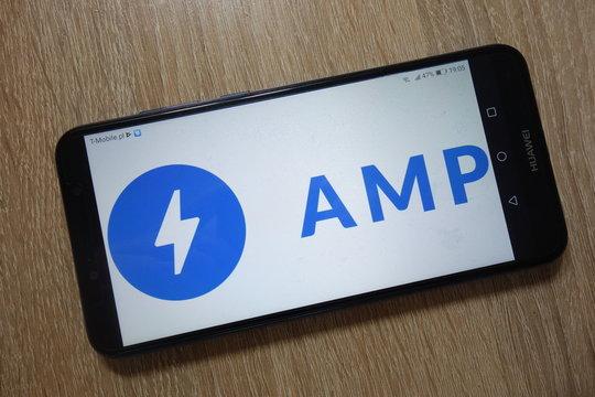 KONSKIE, POLAND - December 01, 2018: AMP Project logo displayed on smartphone