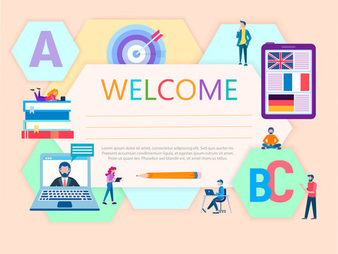 vector illustration diploma of language courses concept online education