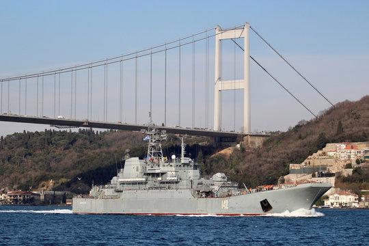 The Russian Navy's large landing ship Novocherkassk sets sail in Istanbul's Bosphorus