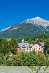 Fototapete - Majestic river in City in Innsbruck, Austria.