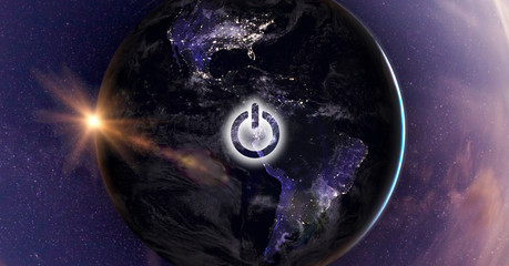 Planet Earth with Power button - On/Off switch. Earth hour/day event. Elements of this image are furnished by NASA.