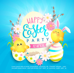 Happy easter party invitation card with beautiful camomiles, painted eggs and chickens with rabbits ears. Banner, poster, greeting, flyer.Template for your design. Vector illustration.