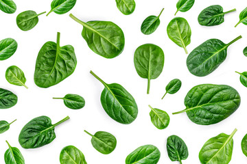 Spinach Pattern. Creative layout made of spinach leaves isolated on white background. Flat lay. Healthy Food concept. Wall mural