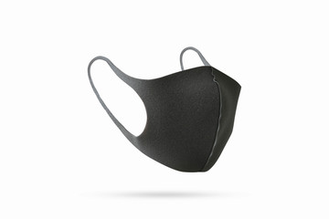 Black Face Mask Protection isolated on white background. Clipping path