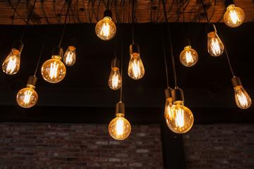 hanging Edison bulbs (vintage lighting bulb) Wall mural