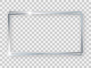Double silver shiny 16x9 rectangular frame