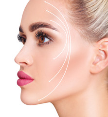 Lifting arrows showing facial anti-aging treatment on skin.