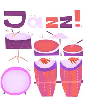 Jazz Drums Percussion Set Vintage Retro Style Flat Illustration Bongos Congas Bass Drum Snare Cymbals