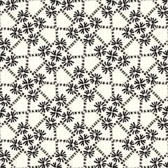 Retro black white seamless scribble flower pattern. Modern naive daisy woven linen texture style background. Vintage 1960s floral bloom decorative all over print. Bold sketchy doodle graphic tile