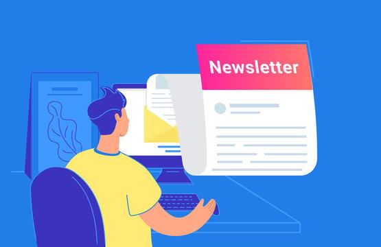 Newsletter monthly subscription flat vector illustration