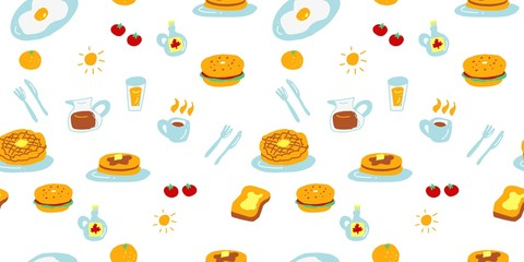 Wall Murals Pattern Cute breakfast seamless pattern design with waffle pancake bagel coffee oranges. Food hand drawn colorful design. Vibrant and cute vector design for textile wallpaper fabric decor.