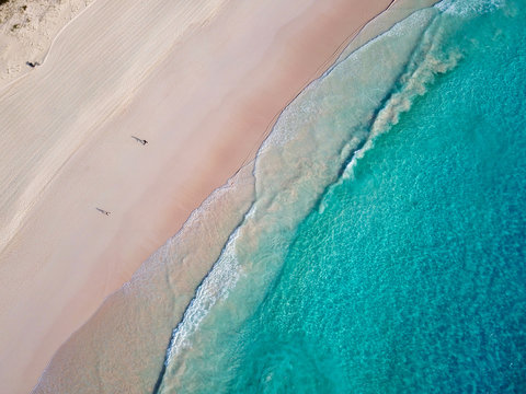 The drone aerial view of horseshoe bay beach, Bermuda island