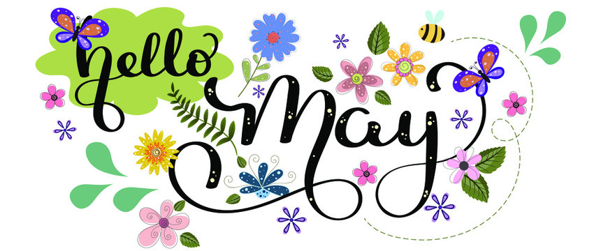 Hello May. MAY month vector with flowers, birds and leaves. Decoration floral. Illustration month may