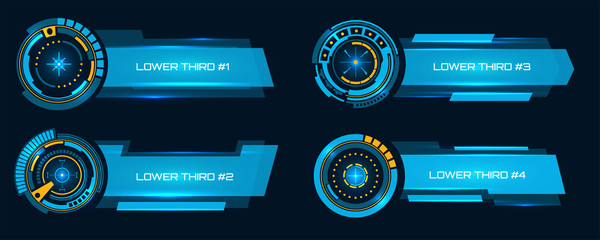 Creative vector illustration of lower third broadcast banner, sci fi hud insterface, TV News bars isolated on background. Art design futuristic lower third hud template. Concept breaking news element.