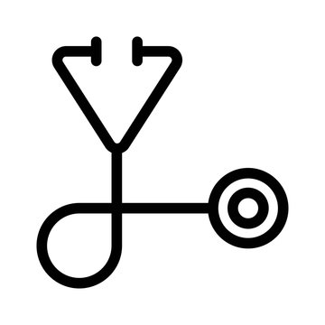 Stethoscope icon. Measuring heartbeat, pulse sign. Medical equipment.
