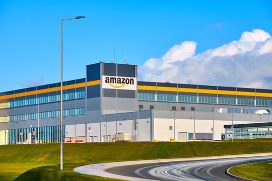 Kolbaskowo, Poland - February 28, 2020: Amazon Robotics e-commerce center in Kolbaskowo is among the largest structure of this kind in Poland and Europe.