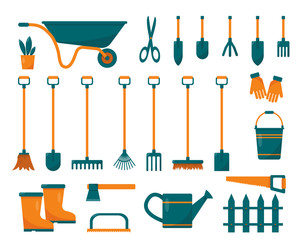Set of gardening tools and equipment.
