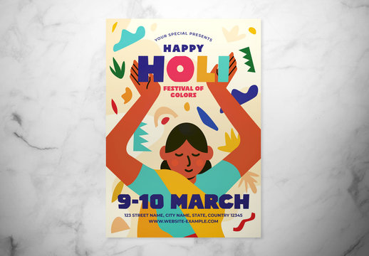 Holi Festival of Colors Event Flyer Layout