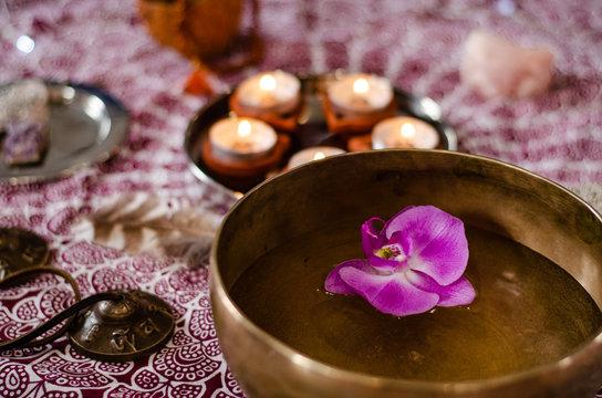 Set of tibetan singing bowl for yoga, spa salon, meditation, sound massage and healing, spiritual practices