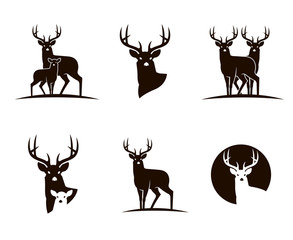 collection of emblems with black deer isolated on white background
