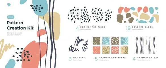 Set of abstract trendy hand drawn shapes and design elements. Pattern Creation set. Vector Fotomurales