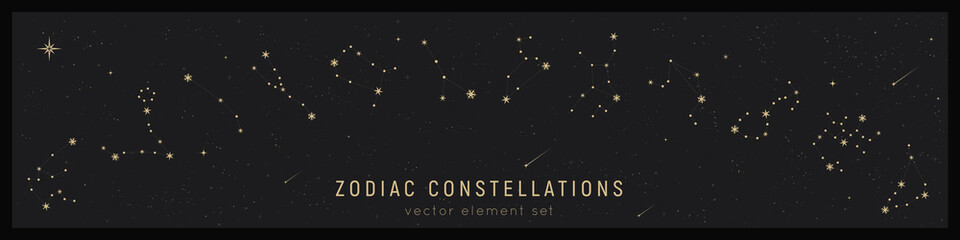 Set of zodiac constelattions. Vector astrology signs and stars. Horoscope print. Mystic and esoteric set. Zodiacal calendar dates
