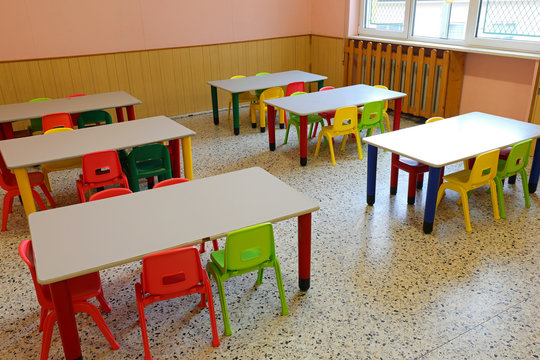 chairs and tables of a class without children who were at home b