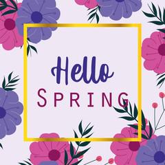 Wall Mural - hello spring, seasonal greeting card flowers frame decoration