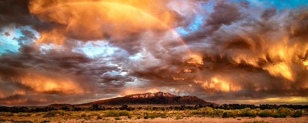 Printed kitchen splashbacks Orange Glow Thunderstorm Over Sandias