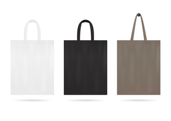 Canvas tote bag mockup for sale. Shopping sack bags with white, black color. Blank fabric eco bag with handles. Handbag for travel. Reusable ecobag template for shopping. Design vector