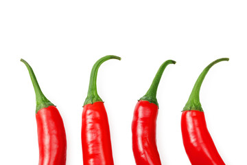 Canvas Prints Hot chili peppers red hot chili peppers isolated on white background top view