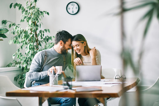 couple working laptop office home business happy love