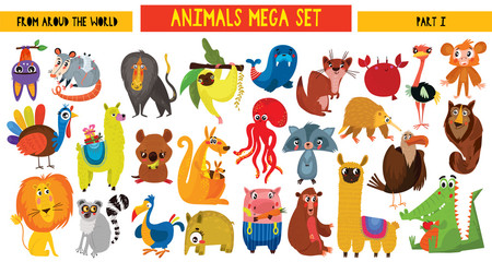 Big collection of cute cartoon animals around the world. Part I. Set of wild and woodland animals characters isolated on white background.