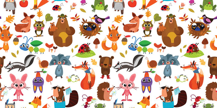 Forest seamless pattern with cute animals. Colorful pattern for banner, gift wrapping paper, t-shirts, greeting cards